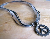 SILVER BELLS - Peace and Flower Jingle Bell Necklace - Hippie Festival Holiday Retro