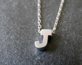 Personalized Necklace, Tiny Letter J Necklace, Alphabet Necklace, Simple, Modern, Everyday