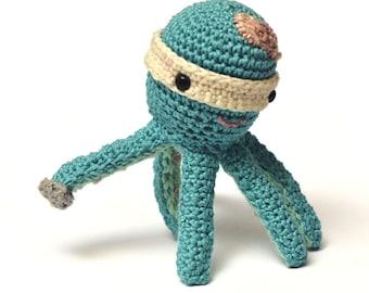 Crochet toy Ninja octopus amigurumi toy Hand made animal doll plush  FREE SHIPPING