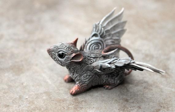 Grey Rat Mouse Winged Figurine Art Sculpture Pet Rat Angel