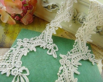 Ivory Venice Lace Retro Aulic Rose Bow Hollowed Out Lace Trim 1.96 Inches Wide 2 Yards Costume Headware Supplies