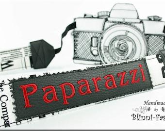 Camera strap, newspaper, Paparazzi, newspaper, black & white