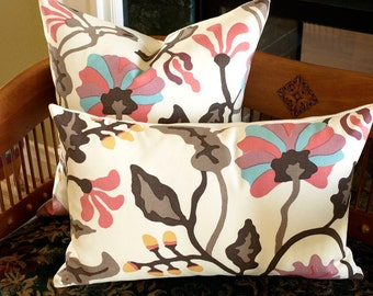 "Quadrille Alan Campbell POTALLA Lumbar Designer Pillow Cover in Pinks, Turquoise, Taupe on Tint  14"" x 22"""