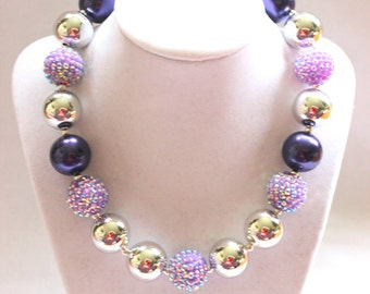 chunky bubblegum bead necklace summer chunky bead necklace purple silver chunky bubblegum necklace bubble gum necklace photo prop