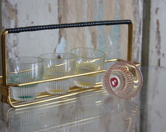 1950s Colorful Shot Glass Caddy