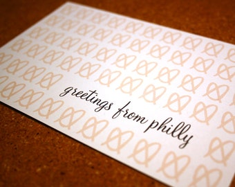 Greetings From Philadelphia Postcard / Philly Pretzel / Philly Wedding Save the Date