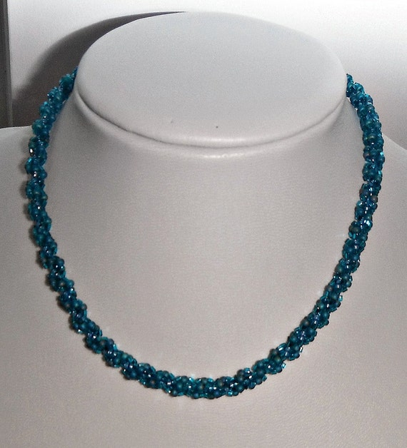 items similar to blue spiral rope necklace seed bead