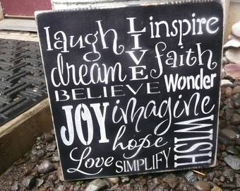 INSPIRE, HAND PAINTED Typography Wood Sign, Wall Decor
