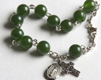 Rosary Bracelet, Sterling, Jade