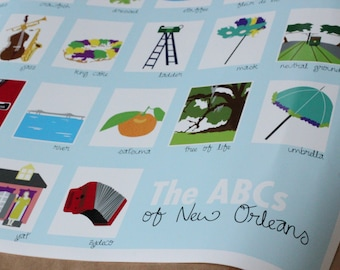 New Orleans ABC Baby Nursery Poster