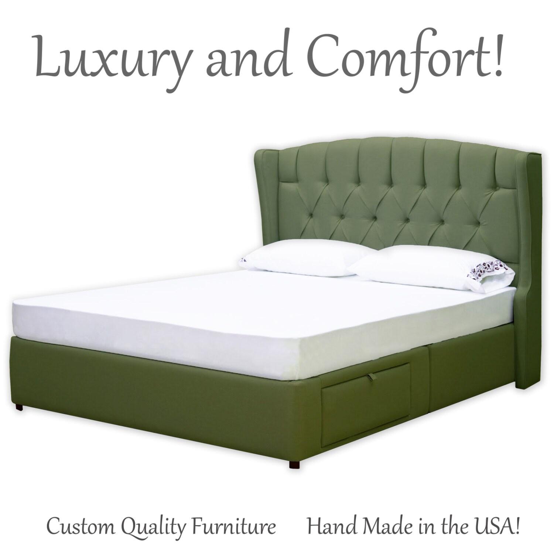 Diamond tufted upholstered elegant headboard bed frame with for Diamond bed frame