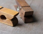 Pinned - Large Vintage Clothespin Note Holders - Brown - Wood - Wooden - Natural Wood - attentionvintage
