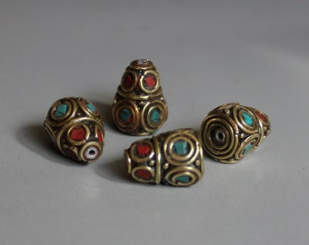 2pcs Nepal Tibetan Brass Bead With Turquoise Coral Inlay 14mm x 10mm - A130