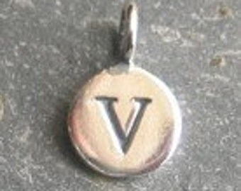 solid STERLING silver letter V round alphabet charm , personalise your jewellery with quality letters
