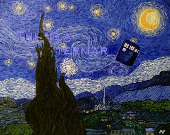 the tardis flying through a starry night vincent van gogh