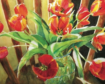 Red Tulips on a Chair watercolor painting Fine Art Print flowers