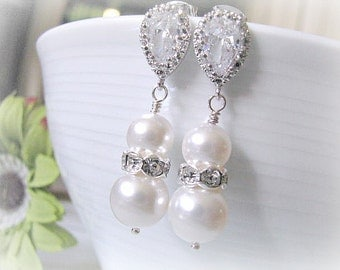 Matte Rhodium Plated Cubic Zirconia Ear Posts With Crystal White Swarovski Pearls And Rhinestone Rondelles Bridal Earrings - Bridesmaid