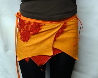 Mini skirt, On cotton skirt and lace being formed on the side, cuts personnailsable.