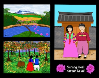 "Art Print/Illustration of ""Korean Love - Sarang Hae"" 8.5x11 print  by Mahieu Spaid"