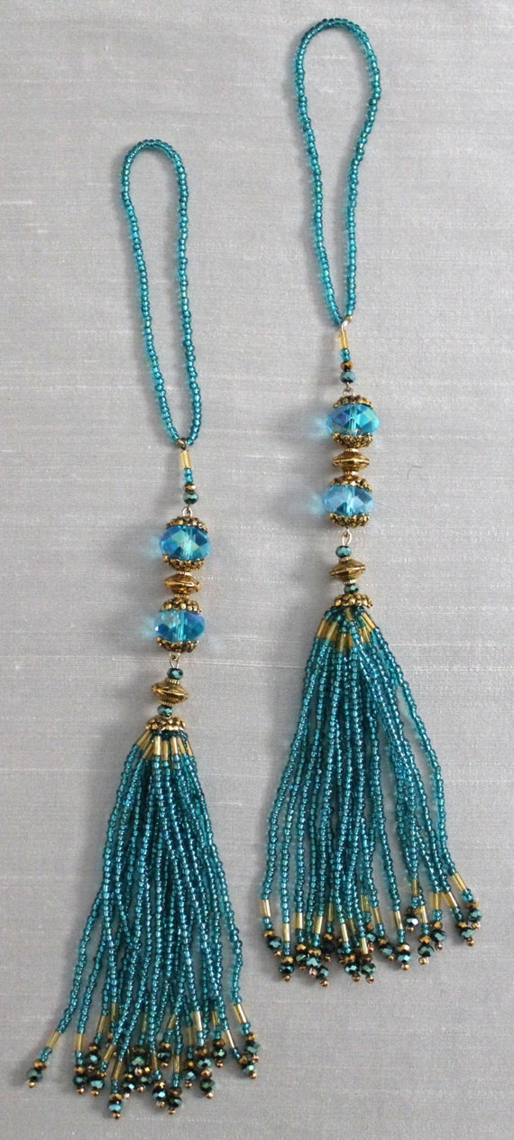 beaded tassels turquoise and gold beads home d 233 cor accents home decor trim signature series 2 peacock rouched