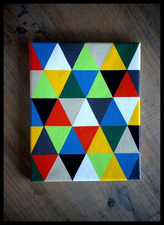 Colorful geometric painting 8 x 10 acrylic on by Painting geometric patterns on walls
