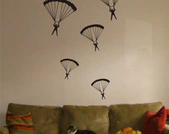 5 Parachuters Decal Vinyl Wall sticker cool amazing children boy girl