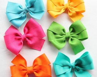 """6pcs 3"""" Brights Pinwheel Hair Bow Set"""