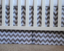 Adjustable grey and white chevron box pleat crib skirt