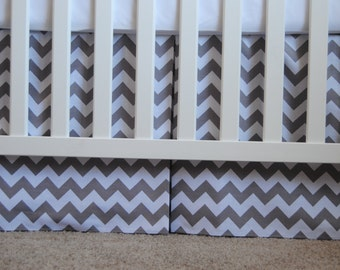 Adjustable grey and white chevron box pleat crib skirt
