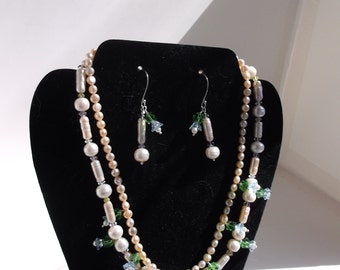 Two Strand Freshwater Pearl and Crystal Flower Drops