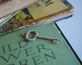 Single Antique Silver Key Charm  -162-