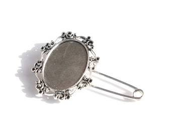 Vintage Antiqued Silver Blank Pin- 1 pc -36-