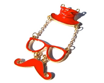 Red Personality Hat, Glasses and Mustache Pendant/Charm Groucho Glasses- 1 piece