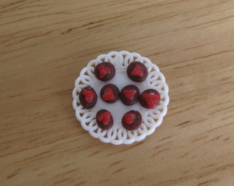 Dollhouse Miniature Valentine Cookies on a plate