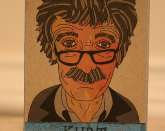 Kurt Vonnegut--- Art Print or Art Block
