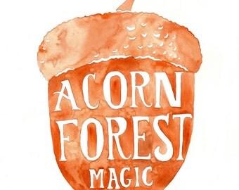 forest illustration watercolor acorn