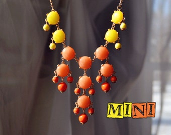 Mini Bubble necklace J. Crew Inspired Statement Necklace Yellow and Orange