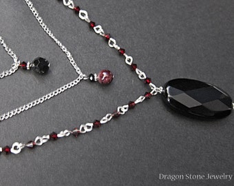 Girl's Night Out Jet and Garnet Dangle Necklace