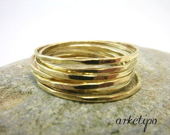 Gold Stackable Rings - Set of 6 handmade brass stack rings - Gold Stacking rings - Hammered - Handmade