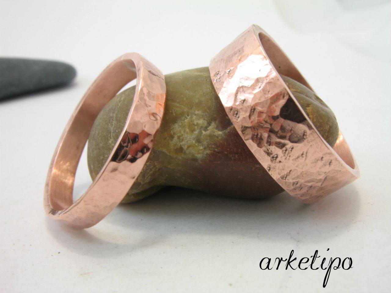 Personalized copper bands wedding rings set personalized for Personalized wedding rings