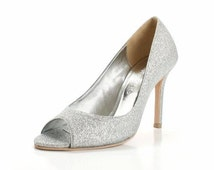 Silver Glittering High Heels. Glitter Wedding Shoes. Glittering Bridal Heels. Silver Glitter Shoes. Custom Made Glitter Shoes