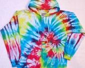 Tie Dye Hoodie, Rainbow Spiral, Full Zip, Adult Sweatshirt Size Small
