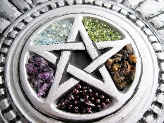 "CUSTOM 7.5"" CHAKRA Crystal Stone Plaque wall Altar Tile Pentacle Pentagram CHooSE CoLoR CHooSe Hanger"