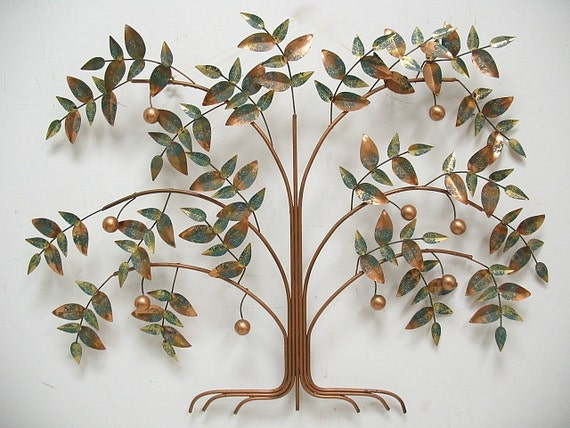 Vintage Metal C. Jere Tree Of Life Wall Sculpture Signed 1987