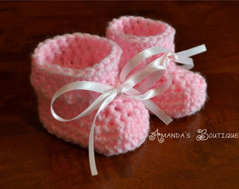 Crochet Newborn Baby Booties - MADE TO ORDER - Pink or Blue
