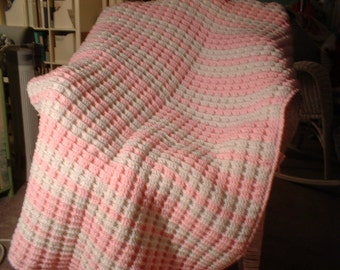 "Waffle Strips for Baby- Hand Crocheted Baby Afghan,  Pink and White 36"" x 60"""