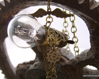 Steampunk Time Machine, Wings, Propeller, Charms, Bulb
