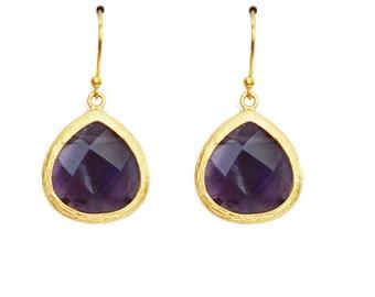 Clarissa Jewel Drop Earrings in Amethyst