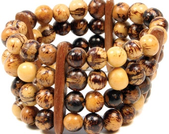 Brown and Natural Acai Seeds Brazilian Eco Fashion Bracelet