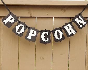 POPCORN banner for Weddings, Wedding Banners, Pop Corn Sign, Decor | Black & Cream